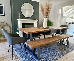 Industrial Scaffold Board Dining Table And Bench Trapezium Steel Legs Reclaimed