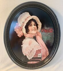 Drink Coca Cola Delicious And Refreshing Oval Tray Betty Girl Swirl Border