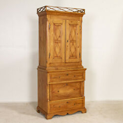 Exceptional Narrow Antique Pine Cabinet From Denmark