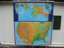 George F. Cram Company Inc. United States Class Room Pull Down Map Ce-101 4d
