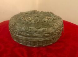 Antique Round Woven Sewing Basket W Lid - Green Tint - 6andrdquo Dia.