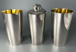 Antique Colonial Silver Water Flask And Beakers By Hamilton And Co Cased Hezx