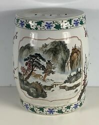 Antique Japanese Ceramic Garden Seat Hand Painted And Charming