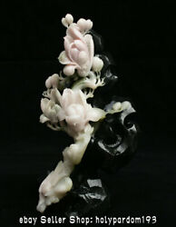 11.2 Chinese Natural Dushan Pink Jade Carving Orchid Flower Statue Sculpture