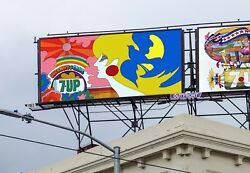 1969 21and039x10and039 7up Uncola Psychedelic John Alcorn Billboard Poster Soda Ad Sign