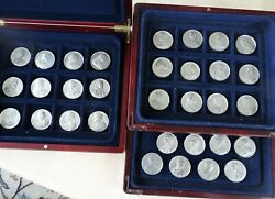 1830 United Kingdom 32 White Metal Medals The Kings And Queens Of England