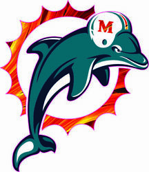 Miami Dolphins 97-12 Flame Inspired Mini Football Helmet Decals