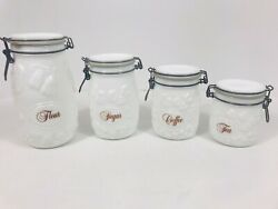 Vintage Retro Wheaton White Milk Glass Canister Complete Set Of 4 Fruit Pattern