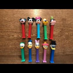 Used Very Rare Disney Old Mickey Mouse Pez Set Of 10 Very Cute
