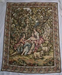 Vintage Italian Tapestry Wall Hanging Romantic Art 62 X 50 Inches