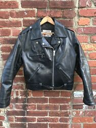 Vintage Sears Leather Motorcycle Jacket Made In Usa Size 14 Womens