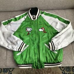 Used Bluebuck Snoopy Sukajan Mens M Size Green Ground Snoopy Embroidery