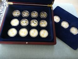 Complete Set Of 15 European Silver Euro Medals All Different Countries