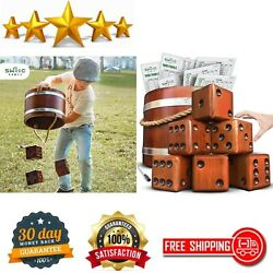 Yardzee, Farkle And 20+ Games Giant Yard Dice Set All Weather With Wooden Buckets