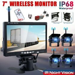 7 Car Monitor + Wired Dual Backup Rear View Cameras System Ir For Trucks Bus Rv