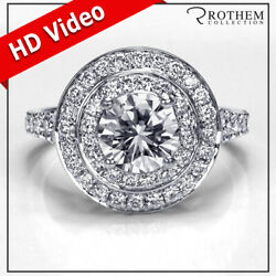 Andpound8600 Double Halo Engagement Ring 1.97 Carat Diamond White Gold Si2 19952986