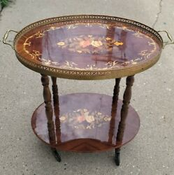 Vintage Italian Inlaid Lacquered Wood Rolling Tray Table Removable Venice