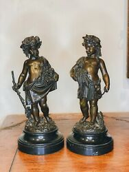Pair Of 19th Century Louis Xvi Style Signed Patinated Bronze Classical Figure