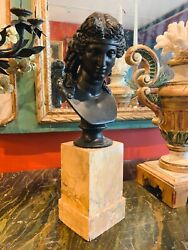 19th Century Grand Tour Period Siena Marble Base With Classical Bust Of Ariadne