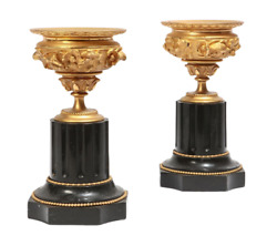 19th Century French Charles X Gilt Bronze And Black Slate Tazza On Stands - A Pa