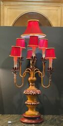 Large Mid Century Chinoiserie Chic Table Lamp With Custom Red And Gold Rope Shades