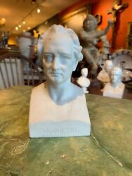 Early 20th Century Classical Parian Classical Porcelain Bust Of Goethe