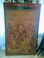 antique french tapestry 2 Piano lesson and Garden scene