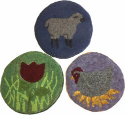 3 Vintage Handmade Dyed Wool Spun Hooked Table Hot Pads Chicken Sheep Flower