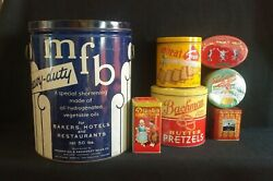 Vintage Lot Of Tin Advertising Cans Mfb Shortening Keebler Bachman Droste's More