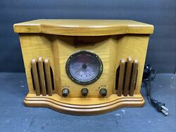 Emerson Antique Cd Player Am/fm Stereo Table Radio In Wood Cabinet Nr51ak