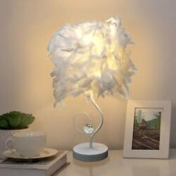Led Table Lamp Crystal Feather Heart Shape Reading Sitting Bed Room Plated Light