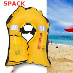 5pack Adult Co2 Automatic Inflatable Pfd Life Jacket Vest Preserver Universal