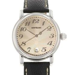 Star Date Large 7249 Leather Belt Stainless Steel Men's Watch [b0708]