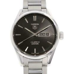 Tag Heuer Carrera Calibre 5 Day Date Black Dial War201a Ss Menand039s Watch [b0708]