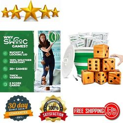 Wooden Game Yard Farkle And 20+ Games Giant Yard Dice Set All Outdoor Weather Game