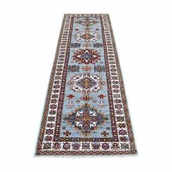 2and0398x8and0395 Hand Knotted Organic Wool Light Blue Super Kazak Runner Rug G68032