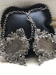 Stunning Pair, Decanter- Bottle Solid Silver Sherry And Whiskey Labels. Heavy