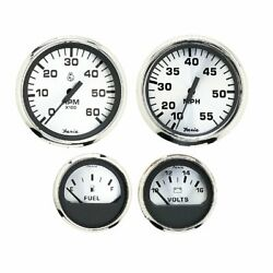 Faria Spun Silver Box Set Of 4 Gauges F/outboard Engines Speedometer Tach V...