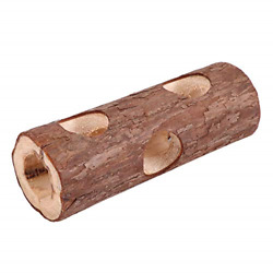 Natural Wooden Hamster Tunnel Exercise Tube Chew Toy Forest Hollow Tree Trunk