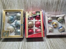 Vintage Glass Christmas Ornaments Bulbs Pyramid- Kresge And Unknown Lot Of 3
