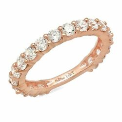 1.52ct Round Cut Natural Vs1 Conflict Free Diamond 14k Pink Gold Eternity Band