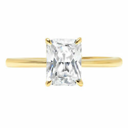 1.0ct Radiant Natural Vs1 Conflict Free Diamond 14k Yellow Gold Solitaire Ring