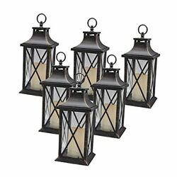 14 Decorative Candle Lantern Led Flameless Antique Copper Brushed Pack Of 6