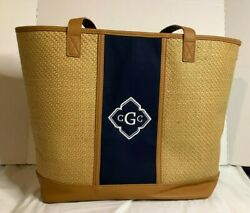 Thirty One Dream Big Tote Woven Straw Design Natural Straw Shoulder Bag