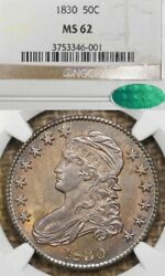 1830 50c Ms62 Cac Small 0 Capped Bust Silver Half Dollar, Toned