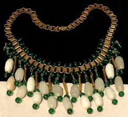 Rare Vintage Early Miriam Haskell Gilt Green White Art Glass Dangle Necklace A5
