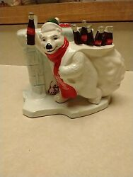 Coca Cola Ceramic Musical Polar Bear W/ Bottles And Red Scarf 1996 Coke Song