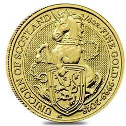 2018 Great Britain 1/4 Oz Ounce Gold Queens Beasts The Unicorn .9999 Fine