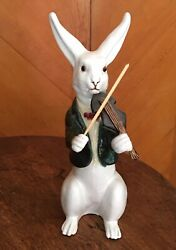 French Faience Rabbit Playing A Violin Red Terracotta White Tin Glaze Signed
