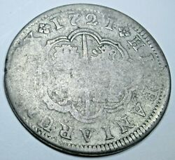1721 Spanish Silver 2 Reales Antique 1700and039s Colonial Two Bits Pirate Cross Coin